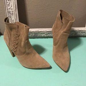 Zara pointed toe suede booties, 39 / 8